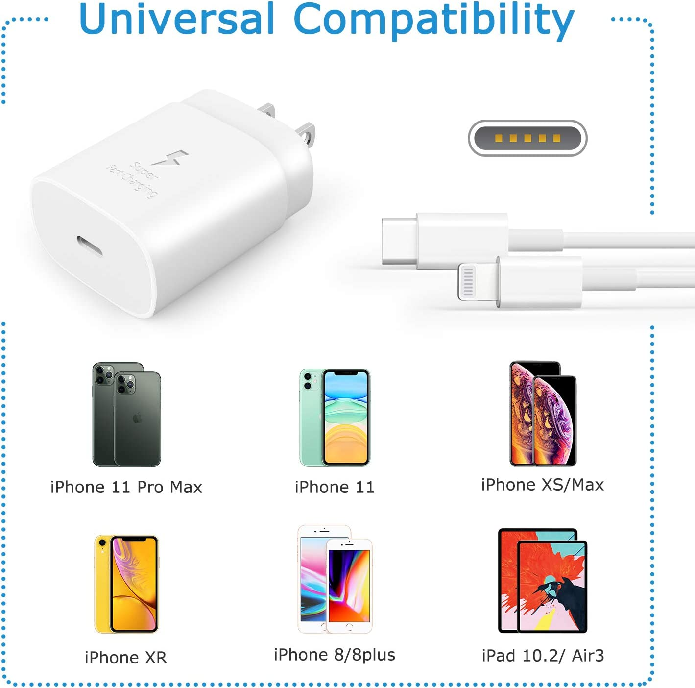 PD Fast Charger for iPhone 11 Pro Max X XR XS 8 Plus iPad Pro,25W USB Wall Charger Block Plug Power Adapter with 3.3 Ft Fast Charging Cable