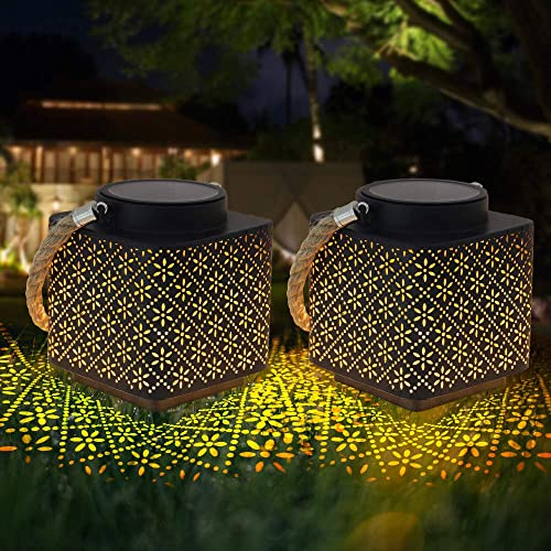 Solar Lantern 2 Pack Outdoor Solar Garden Lantern Warm White Outside Solar Decorative Lanterns,IP65 Waterproof Hanging LED Solar Lamp for Fence, Tree, Yard, Patio Decor