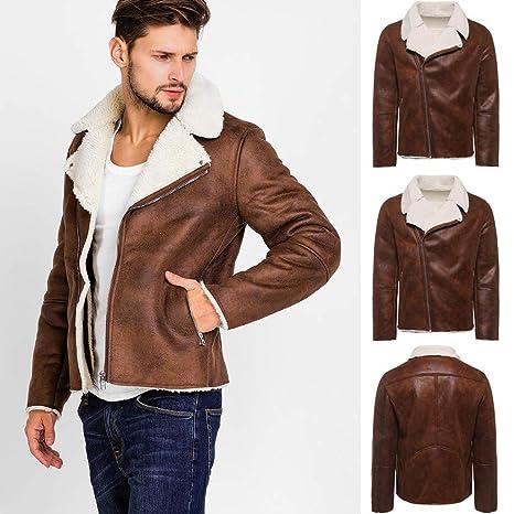 Sumen Men Warm Fur Lined Zipper Lapel Leather Zipper Jacket ...