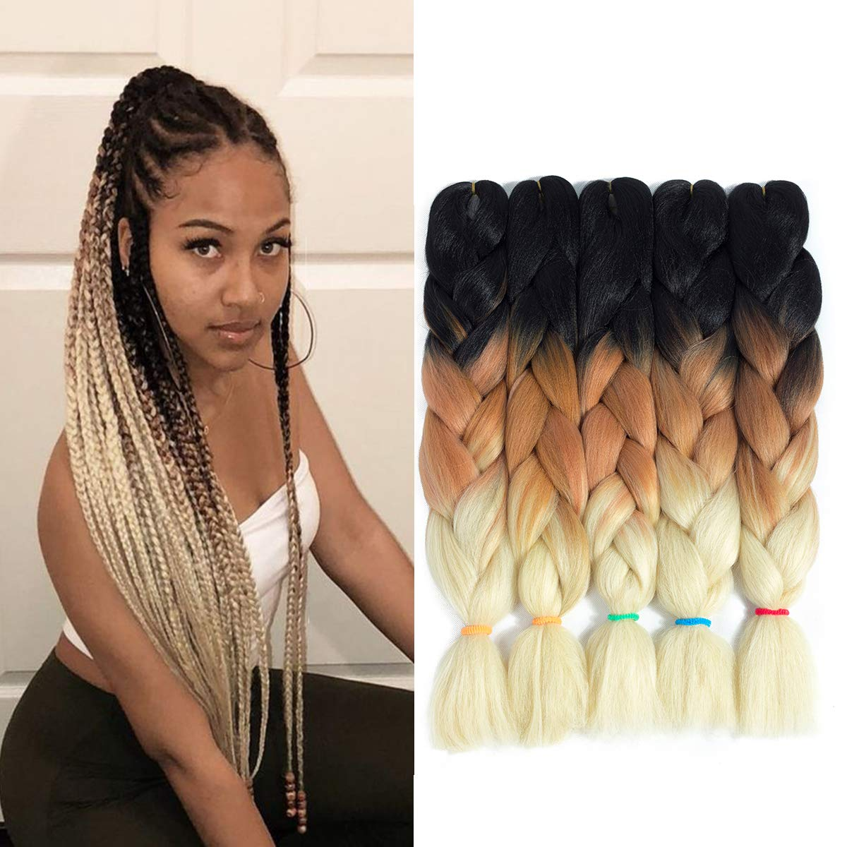 3 Tone Ombre Kanekalon Jumbo Braiding Hair 24 Inch 5Pcs/Lot Synthetic  African Brown and Blonde Colorful Pre Stretched Braiding Hair for Twist  Crochet