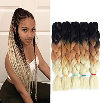 3 Tone Jumbo Braiding Twist Crochet Hair 24 Inches 5pcs Lot Synthetic Black Brown And Blonde Colorful Jumbo Box Braids For Crochet Twist Synthetic Hair Extensions Black Brown Beige Beauty
