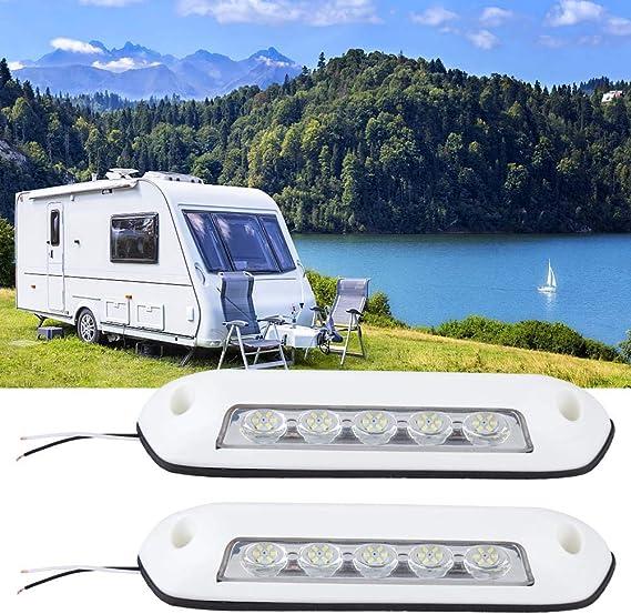 Yctze Faretto per tenda da sole a LED per auto da 2 pezzi lampade da annesso per tende da sole impermeabili da 12V 2.6W Faretto per barche per camper