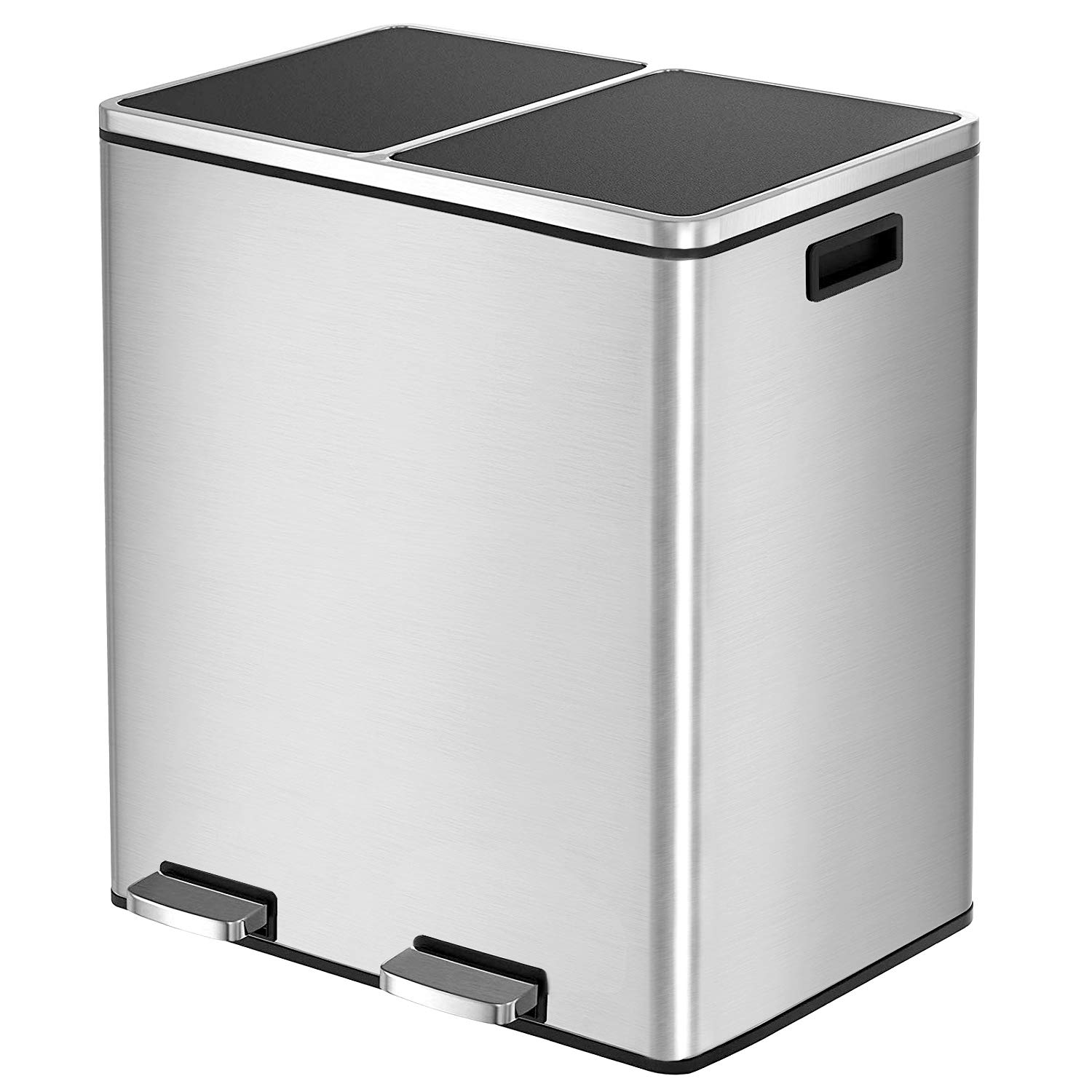 HEMBOR Dual Trash Can, 16 Gallon (2X30L) Step Rubbish Bin, Stainless Steel Double Compartment Classified Recycle Garbage Pedal Dustbin, Suit for Bathroom Kitchen Office Home, Indoor and Outdoor