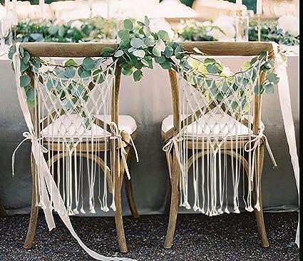Boda silla decoración novia y novio silla Signs macramé ...