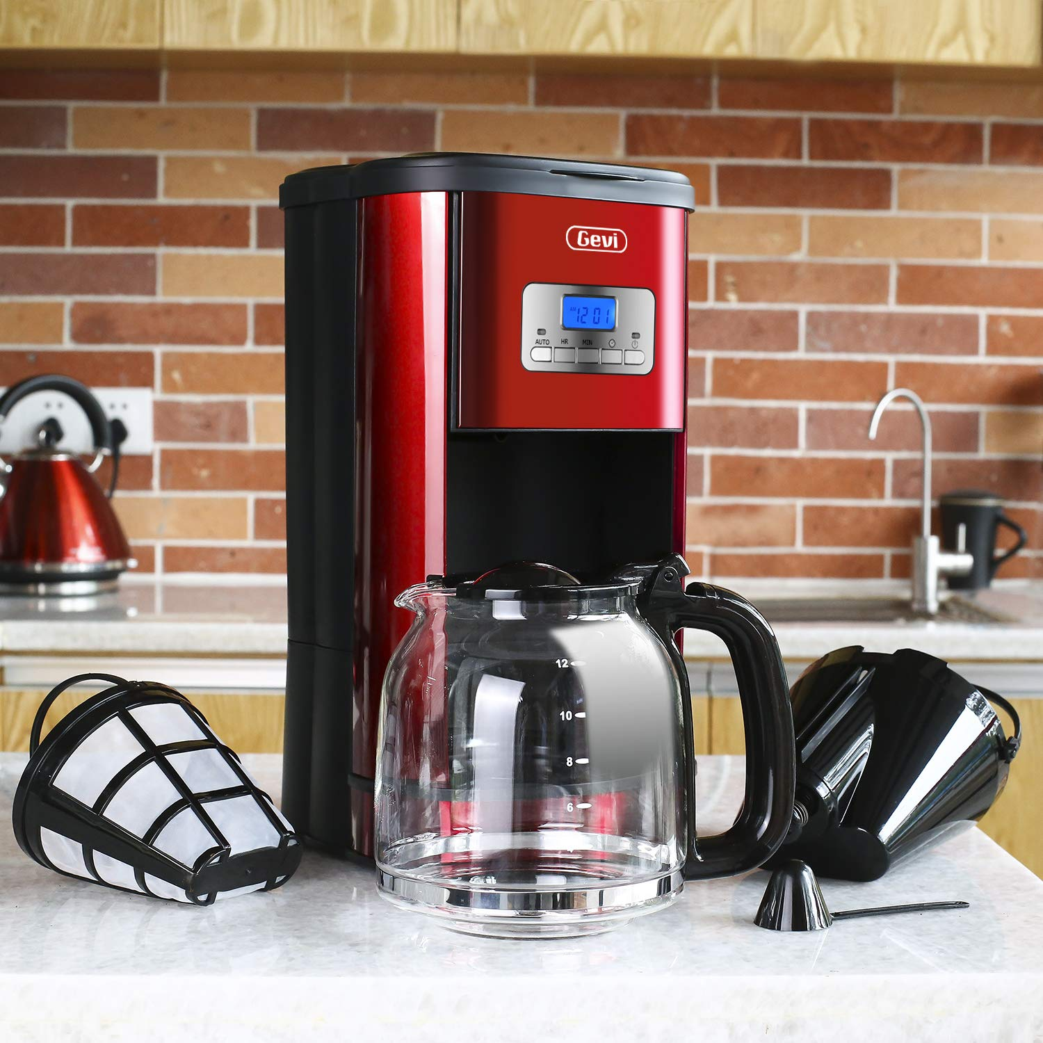 Coffee Maker GEVI 12 Cup Coffee Machine Stainless Programmable Setting Silent Operation Drip Coffeemaker with Coffee Pot and Filter for Home and Office red