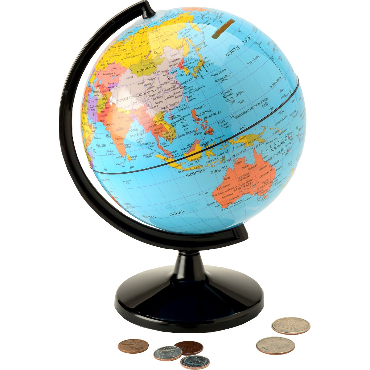 Waypoint Geographic Hemispheres Save the World 5.6'' Coin Bank - Teach Kids to Save Money & Learn Places Around the World - Great for Desk or Table Placement