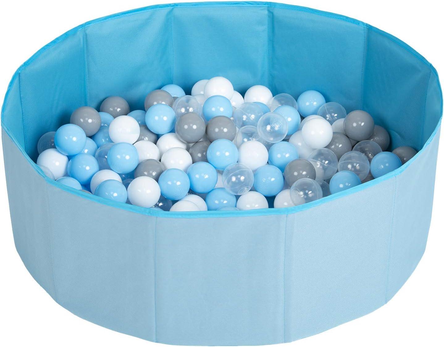 Selonis Piscina Plegable con Bolas Coloridas De 100 Bolas NZ-78-BLUE Azul:Gris//Blanco//Azul