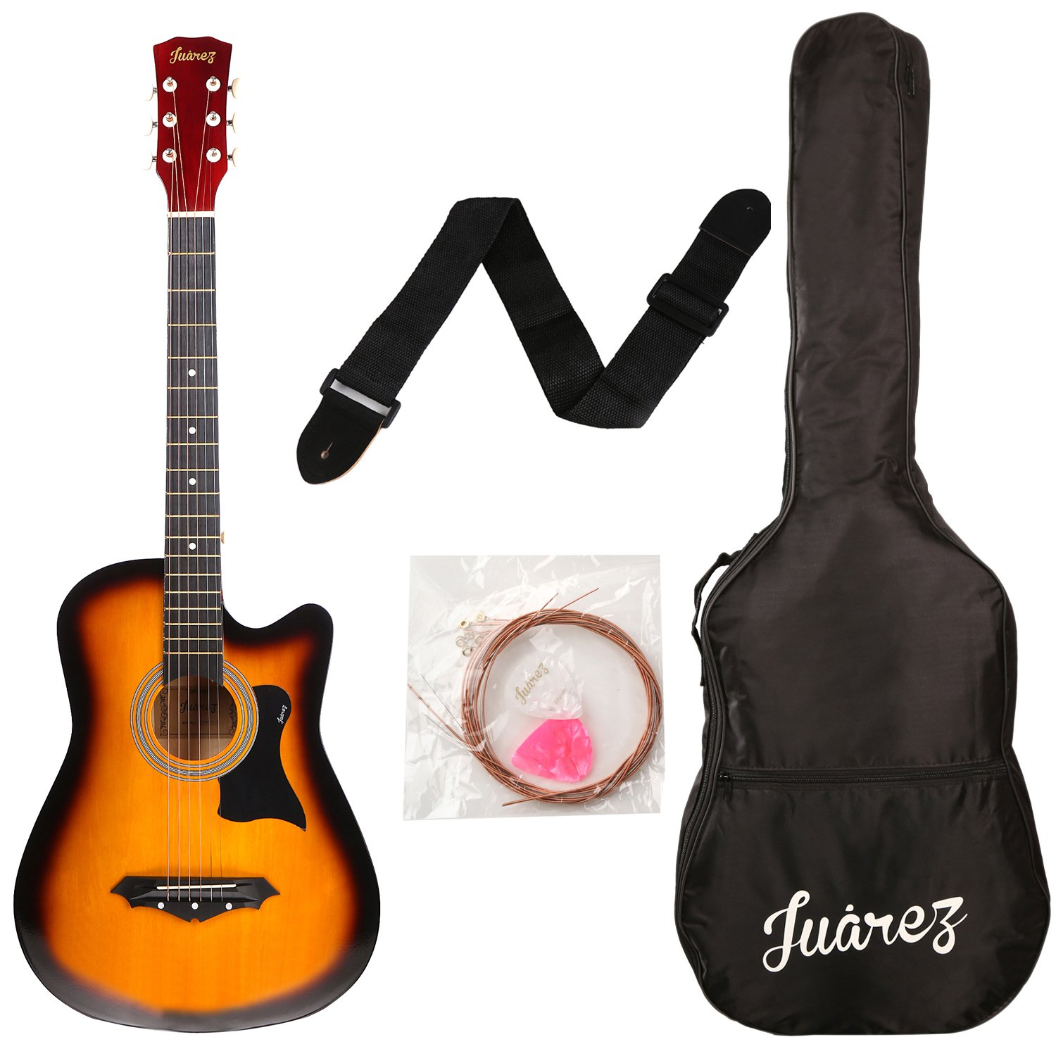 Juarez JRZ38C/3TS Acoustic Guitar, 38 Inch Cutaway with Bag (3TS Sunburst) product image