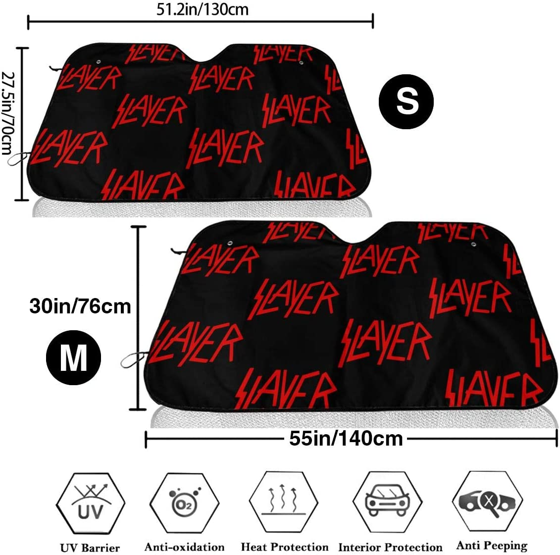 Easy to Use Slayer Car Sunshade to Keep Your Vehicle Cool and Damage Free Fits Windshields of Various Sizes