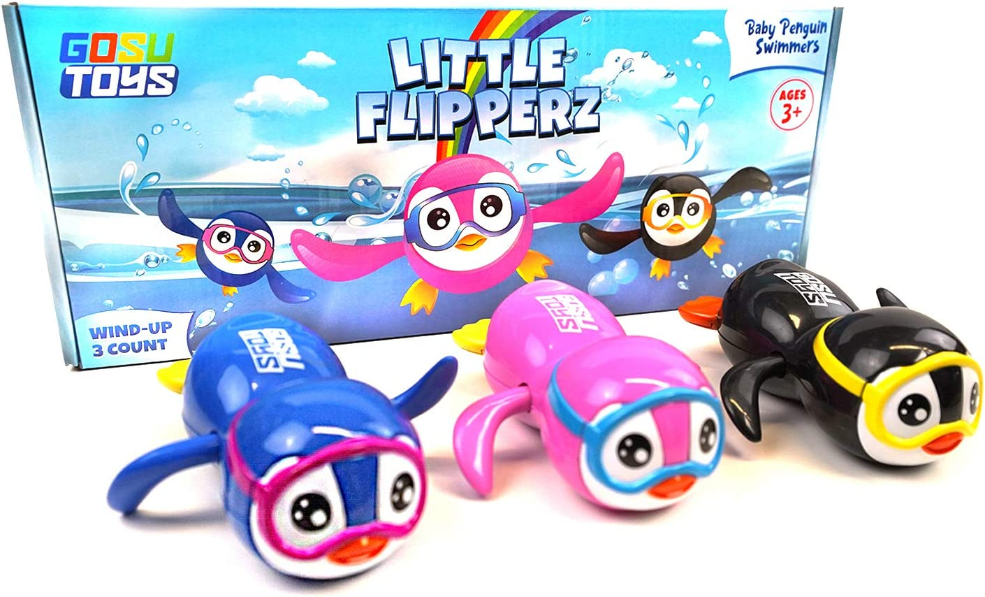 Black Pink Blue 3 Pack Gosu Toys Little Flipperz Wind Up Baby Penguin Swimmers