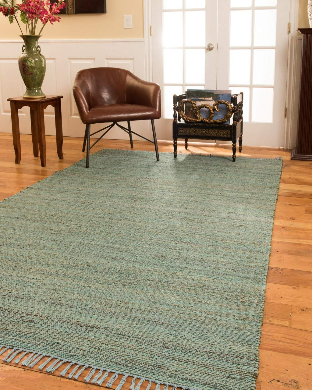 Natural Area Rugs 100 Natural Fiber Handmade Venice Jute Rectangular Rug 5 x 8 Denim