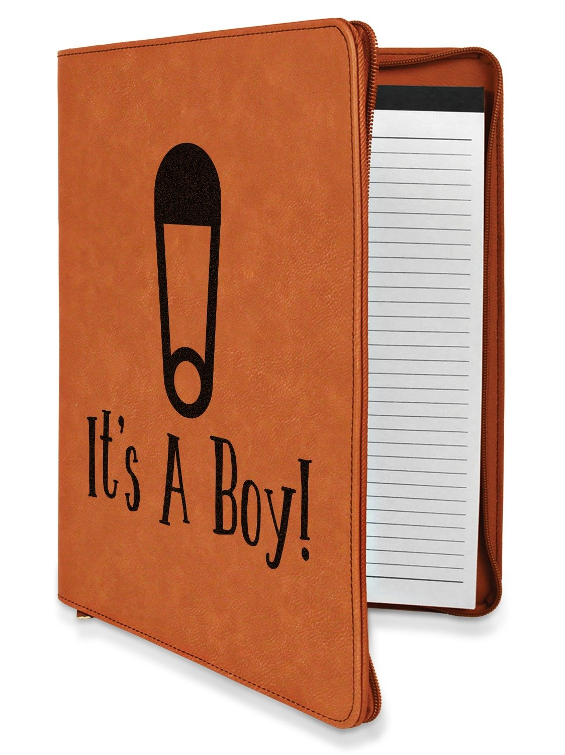 Baby Shower Leatherette Zipper Portfolio with Notepad - Double Sided (Personalized)