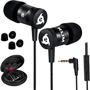 KLIM Fusion – in Ear Headphones with Mic + Excellent Audio Quality + Long-Lasting Ear Buds + 5 Years Warranty + Wired Headphones with Memory Foam Tips + 3.5 mm Jack + New 2021 Version Black