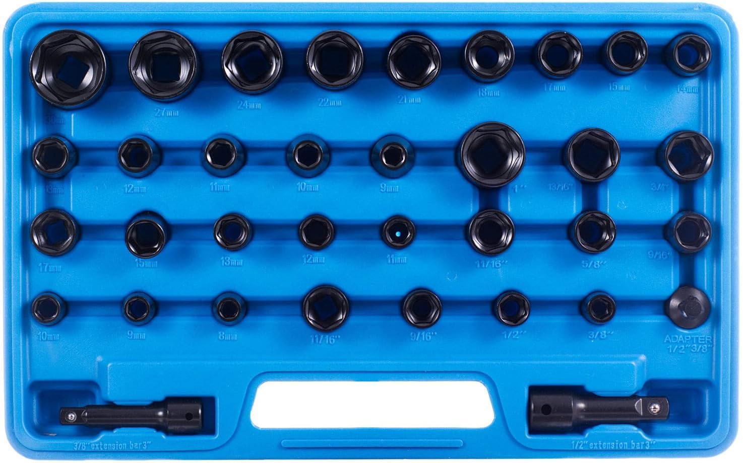 Coffret de 35 douilles /à choc hexagonales 1//2 3//8