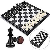 Peradix Tablero Ajedrez Magnético,Juego de ajedrez de Rompecabezas 25 X 25CM Plegable y fácil de Llevar,Juego ajedrez…