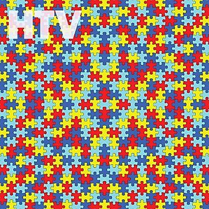 Amazon.com: Autism Awareness Puzzle Piece Pattern HTV, 12\
