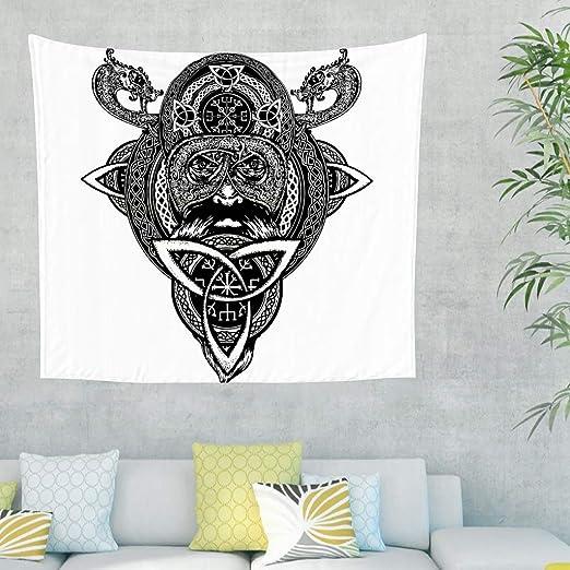 Negro casco vikingo dragón escandinavo runas tatuaje pared tapiz ...