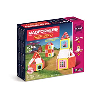 Magformers Build Up (50 Piece) Set Magnetic    Building      Blocks, Educational  Magnetic    Tiles Kit , Magnetic    Construction  STEM Toy Set includes brick accessories