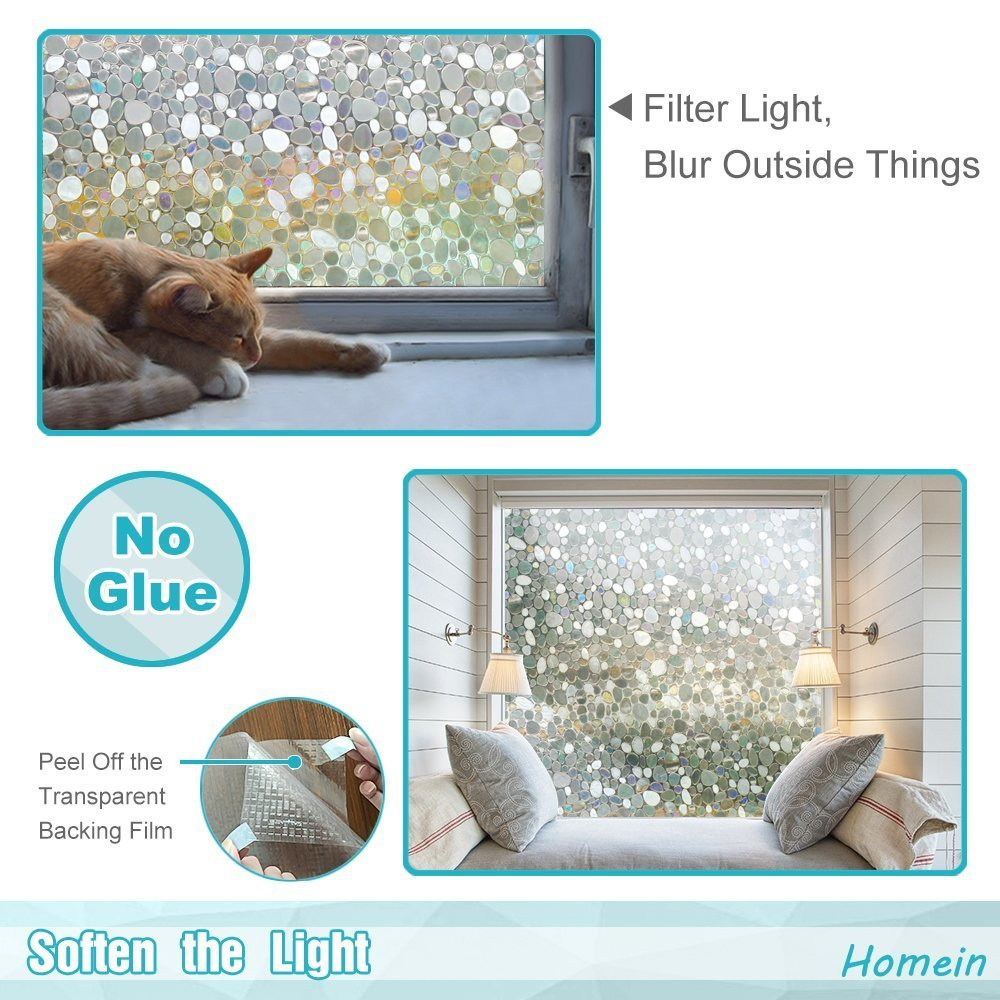 Homein Window Films 3D Static Privacy Decoration Home Window Tint Film for UV Blocking Heat Control Glass Stickers,Pebble,17.7In. by 78.7In. (45 x 200Cm) by Homein (Image #4)