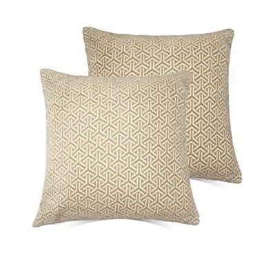 Set of 2 Throw Pillow Covers Coastal Cushions 100% Cotton Home Decorative 18 x 18 inch Soft Pillow Case Covers Invisible Zipper Decorative Pillow Case No Pillow Insert Furniture Cushions (03-Brown)