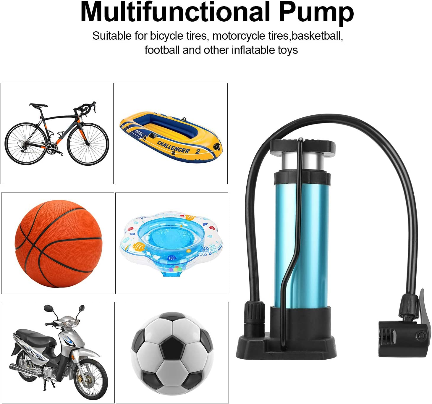 Foot Activated Bicycle Pump QKURT Bike Pump Mountain and BMX Bikes Aluminum Alloy Bicycle Tire Pump for Road Portable Mini Bicycle Pump fits Universal Presta and Schrader