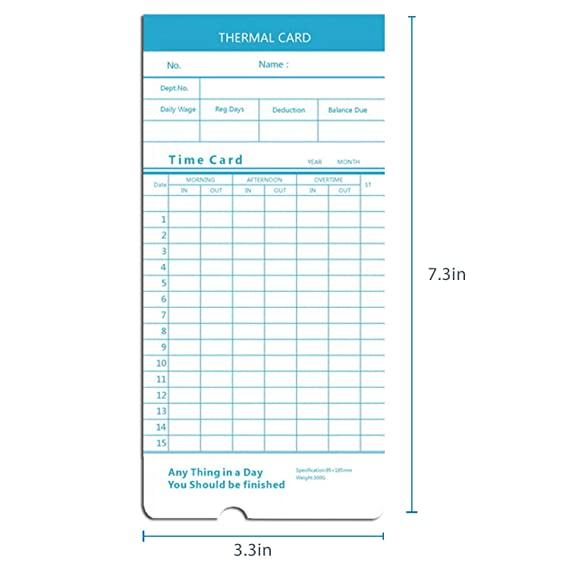 Flexzion 50 Pack Time Cards Monthly Format Thermal Print Paper Timesheet  for Daily Employee In Out Attendance Payroll Recorder Puncher Compatible  with