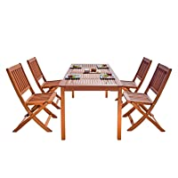 Vifah V98SET3 Outdoor Wood 5-Piece Dining Set