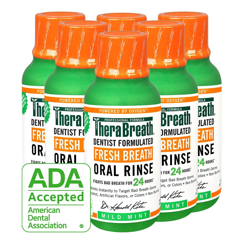 TheraBreath Dentist Recommended Fresh Breath Oral Rinse, Mild Mint Flavor, 3 Ounce (Pack of 6)