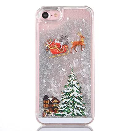Christmas Phone Case.Iphone 6 6s Funny Case Fusicase New Fashion Style Christmas Tree Rudolph Pattern Flowing Liquid Floating Luxury Bling Glitter Sparkle Case Cover For