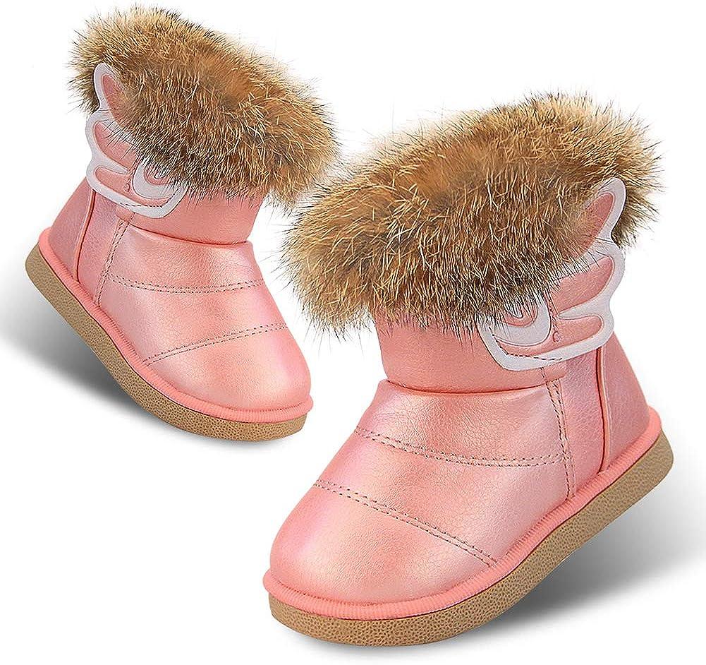 Bambine e Ragazze del Bambino Stivali da Neve Cotone Caldo Scarpe Invernali in Pelle per Interni ed Esterni con Velcro Piatto