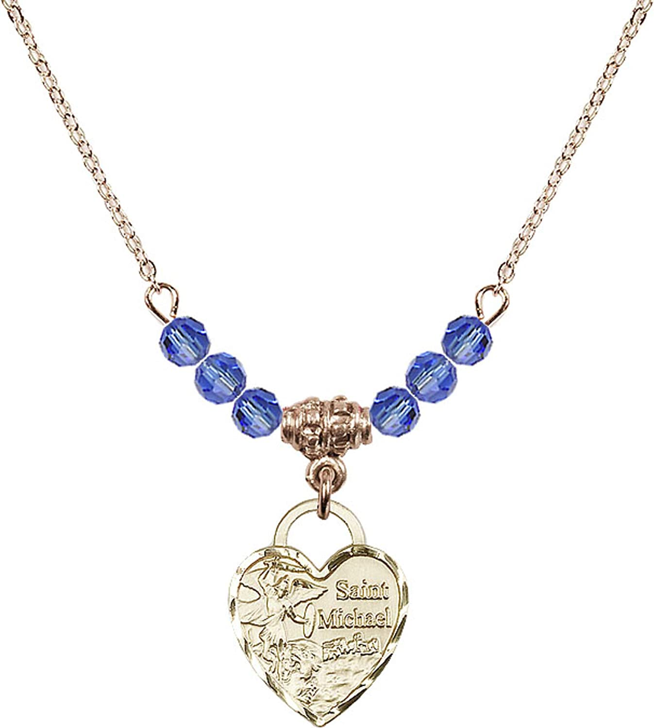 Bonyak Jewelry 18 Inch Hamilton Gold Plated Necklace w// 4mm Blue September Birth Month Stone Beads and Saint Michael Heart Charm