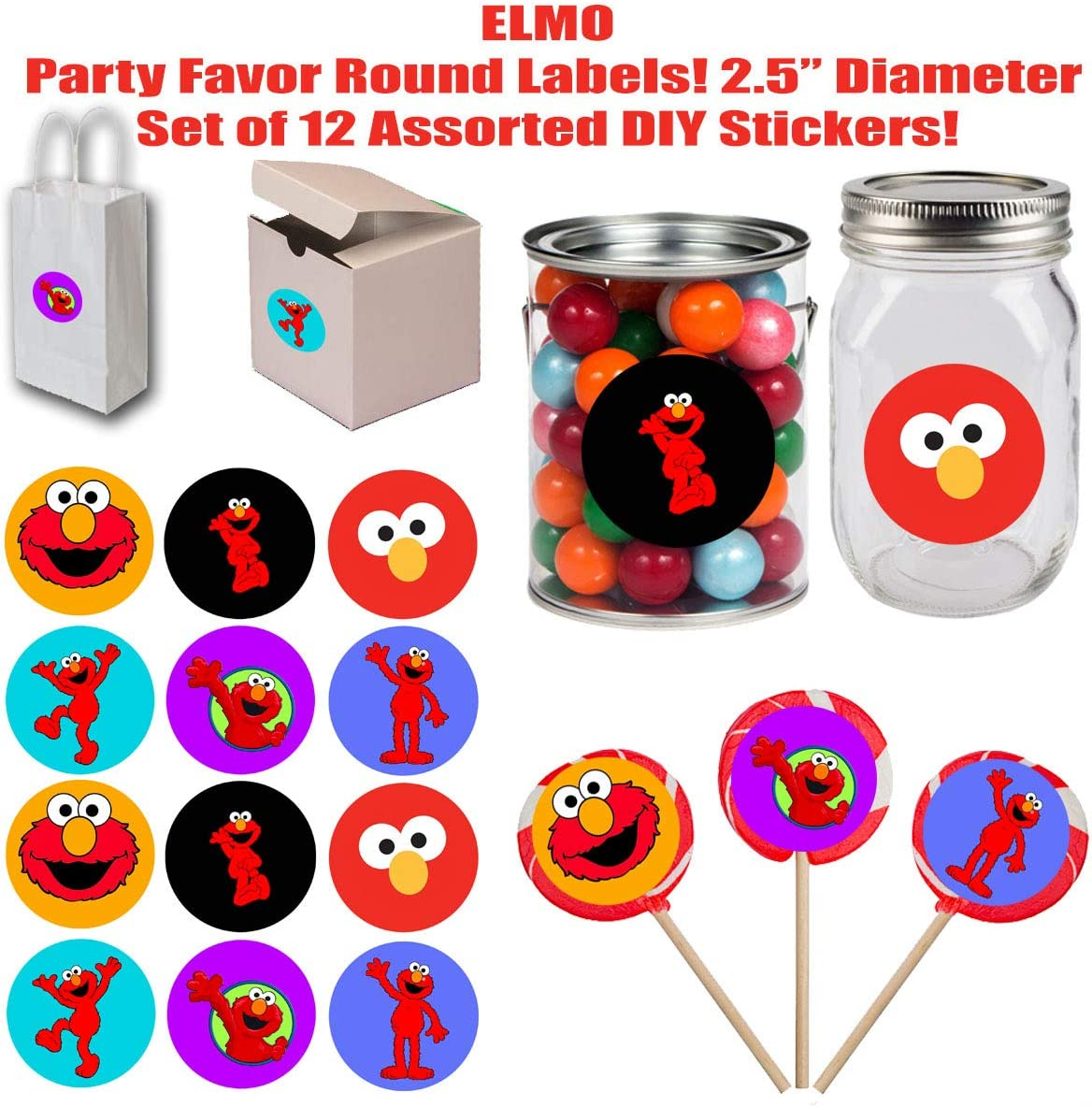 Elmo Candy Bag Stickers Logo* SCROLL - Printed TagsStickers All PHOTOS for more information Elmo Stickers