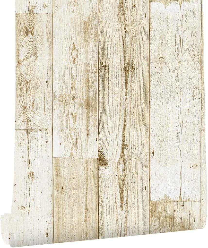 Amazon Haokhome 壁紙 木目調 はがせる壁紙シール 自己粘着ステッ ベージュ のり付き 剥がせる 簡単 キッチン リビングルームの装飾 45mx 3m Diy 工具 ガーデン