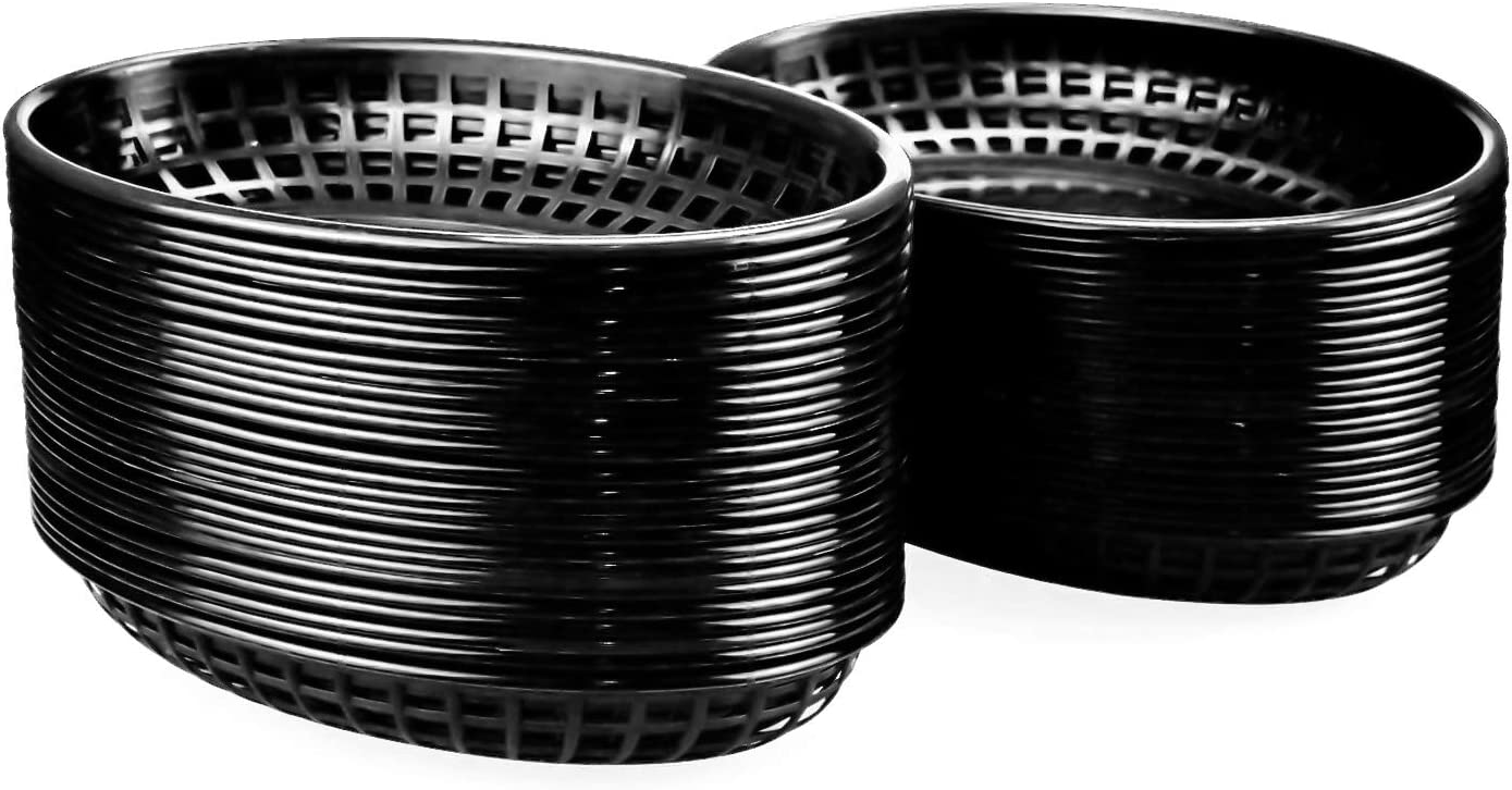 Kingrol 50 Pack Black Oval Fast Food Baskets, Plastic Storage Basket Bin, 8-7/8 x 5-5/8 Inches
