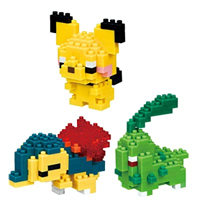 Nanoblocks - 3 Sets - Pichu, Cyndaquil and Chikorita - Adjustable Pokemon Characters (Japan Import): Toys & Games
