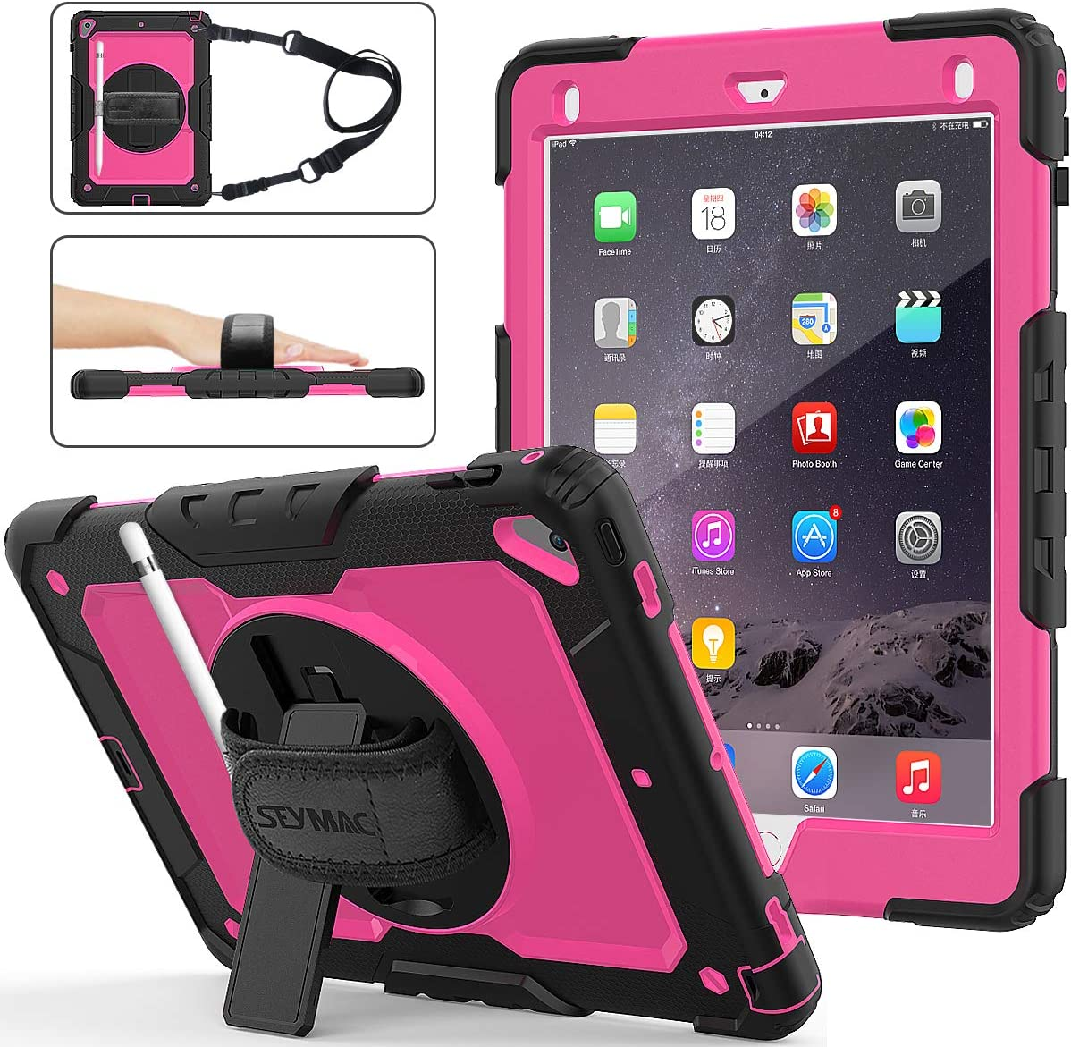 iPad 6th/5th Generation Case, SEYMAC Stock [Full-Body] Drop Proof Armor Case with 360 Rotating Stand [Pencil Holder][Screen Protector] Hand Strap for iPad 6th/5th/ Air 2/ Pro 9.7 (Rose+Black)
