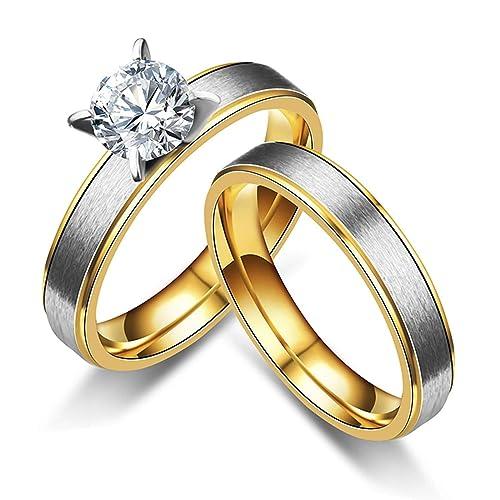 Amazon.com: Anazoz - Anillos de acero inoxidable para pareja ...