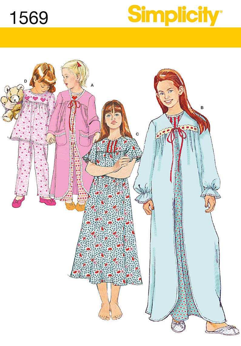 Size NN 8-10-12-14 Simplicity Sewing Pattern 1569: Childs and Girls Sleepwear White, Paper
