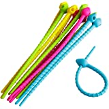 12pcs colorful All-Purpose Silicone Ties, Multi-use smart tie, Bag Clip, Bread Tie, Food Saver, household Snake Ties (12 pcs)
