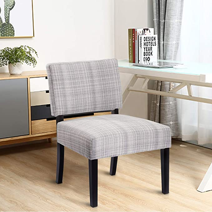 Giantex Dining Chair Armless Linen Fabric Upholstered Wood Modern Living Room Furniture