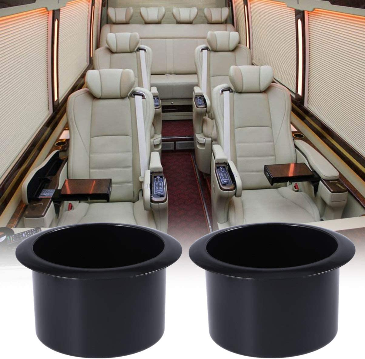 Cabilock 2pcs Plastic Black Insert Cup Can Drink Holder for Poker Table Car Couch Recliner Sofa Truck