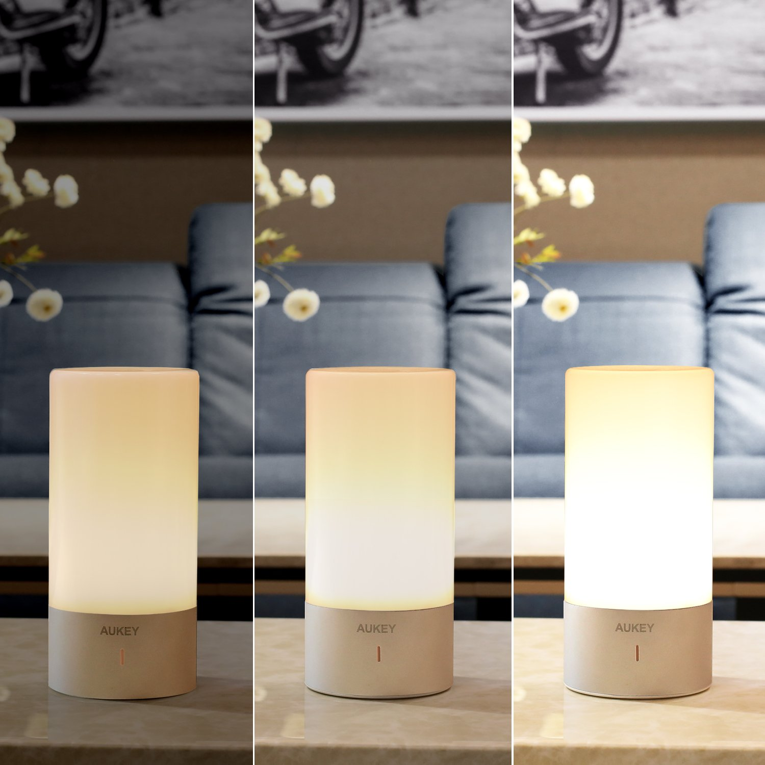AUKEY Table Lamp, Touch Sensor Bedside Lamps + Dimmable Warm White Light & Color Changing RGB for Bedrooms by AUKEY (Image #3)