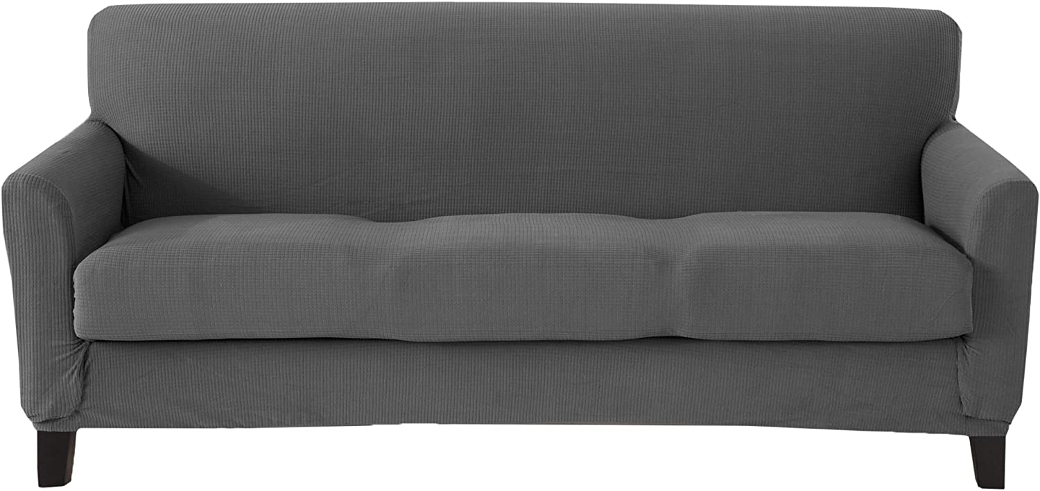 Great Bay Home Popcorn Textured Sofa Slipcover. Form Fit, Slip Resistant, Strapless Slipcover. Stretch Sofa Slipcover. Kova Collection (Sofa, Frost Gray)
