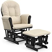 Storkcraft Premium Hoop Glider and Ottoman (Black Base, Beige Cushion) – Padded Cushions with Storage Pocket, Smooth Rocking Motion, Easy to Assemble, Solid Hardwood Base