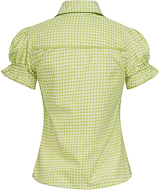 Bohmberg - Blusa para traje tradicional bávaro para mujer, blusa a cuadros en muchos colores, 100% algodón, talla 34 – 46 verde 36: Amazon.es: Ropa y accesorios