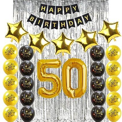 Sunarrive Addobbi E Decorazioni Per Compleanno Di 50 Anni Palloncini Elio 50 Anni Oro Neri Festa 50 Anni Donna Uomo