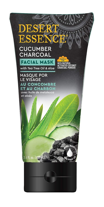 Desert Essence Facial Mask - Cucumber Charcoal w/Tea Tree Oil & Aloe - 3.4 Fl Oz - Detoxifies & Brightens Skin
