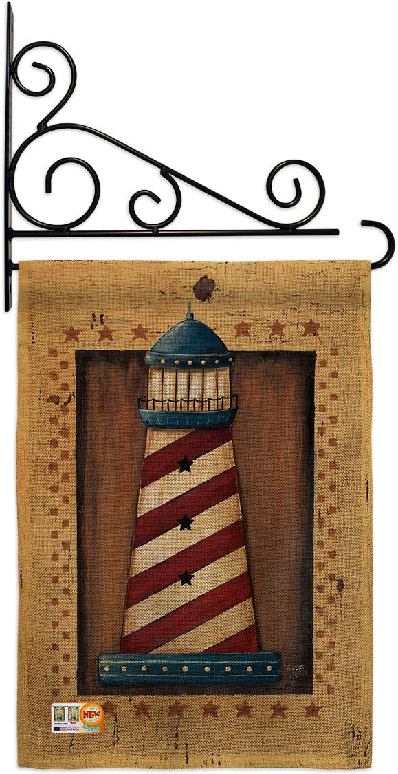 Breeze Decor Nautical Patriotic Lighthouse Garden Flag Set Wall Holder Coastal Anchor Sailor Sea Shells Outdoor Summer Ocean Small Decorative Gift Yard House Banner Double-Sided Made in USA 13 X 18.5