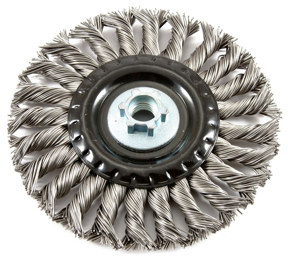 Forney 72841 Wire Wheel Brush, Industrial Pro Twist Knot with 5/8-Inch-11 Threaded Arbor, 6-Inch-by-.020-Inch by Forney