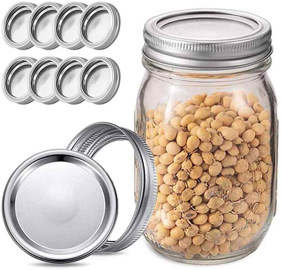 Huinsh 24 Pcs Canning Lids and Bands for Wide Mouth Mason Jars, Leakproof Storage Can Covers Caps and Rings Disc with Silicone Seals